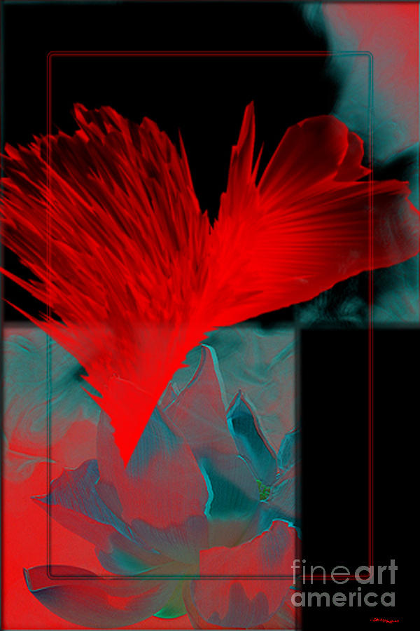 Modern Mixed Media - Red Heart Flower by Christine Mayfield