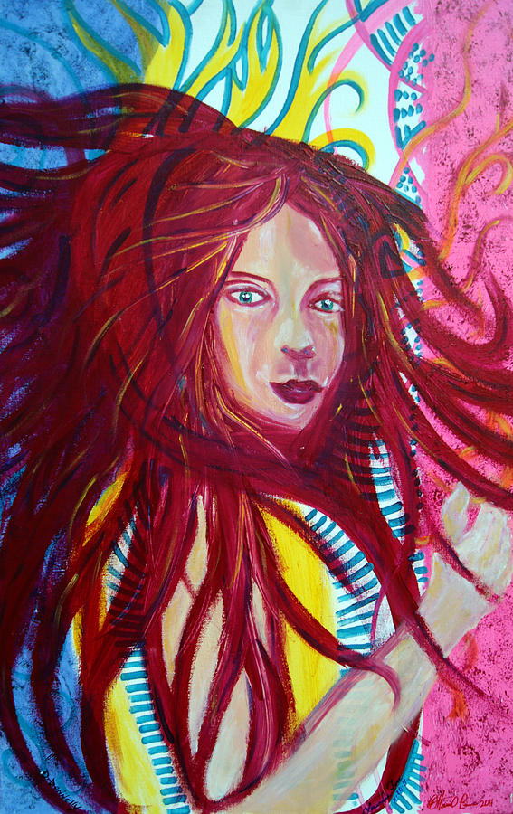 Girl Painting - Red Hot by Ottoniel Lima Lorinda Fore and Derek Donnelly