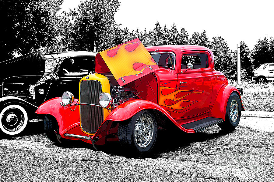 Red Hot Rod With Flames Photograph by Randy Harris