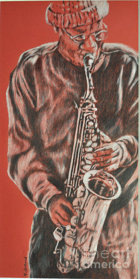Music Painting - Red Hot Sax by Norma Gafford