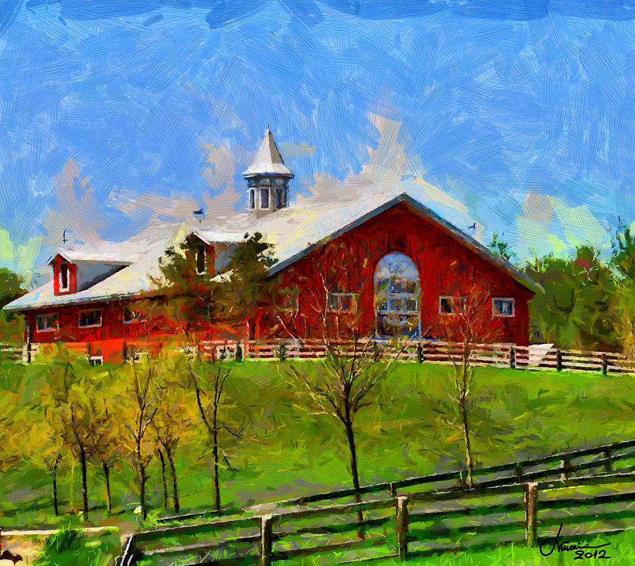 Red Digital Art - Red House In Caledon Tnm by Vincent DiNovici