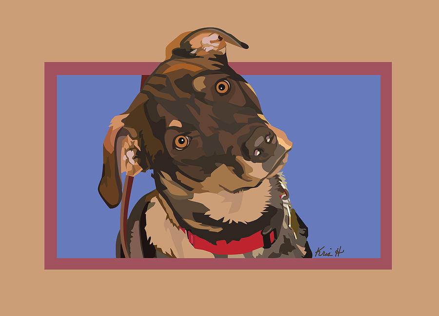 Mutt Digital Art - Red II by Kris Hackleman