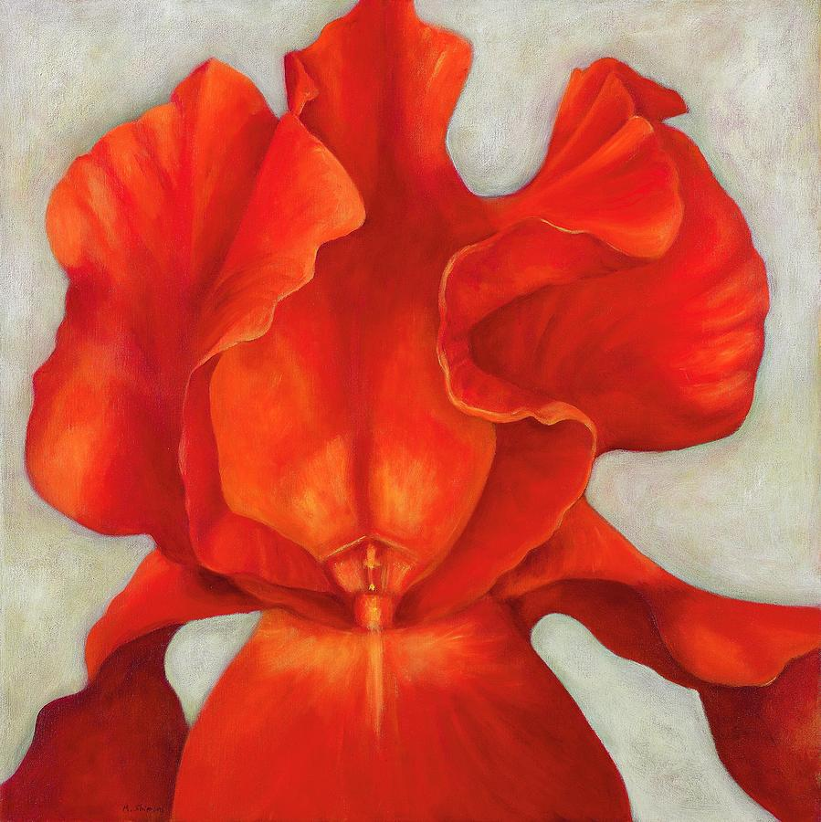 Red Iris Painting By Michal Shimoni