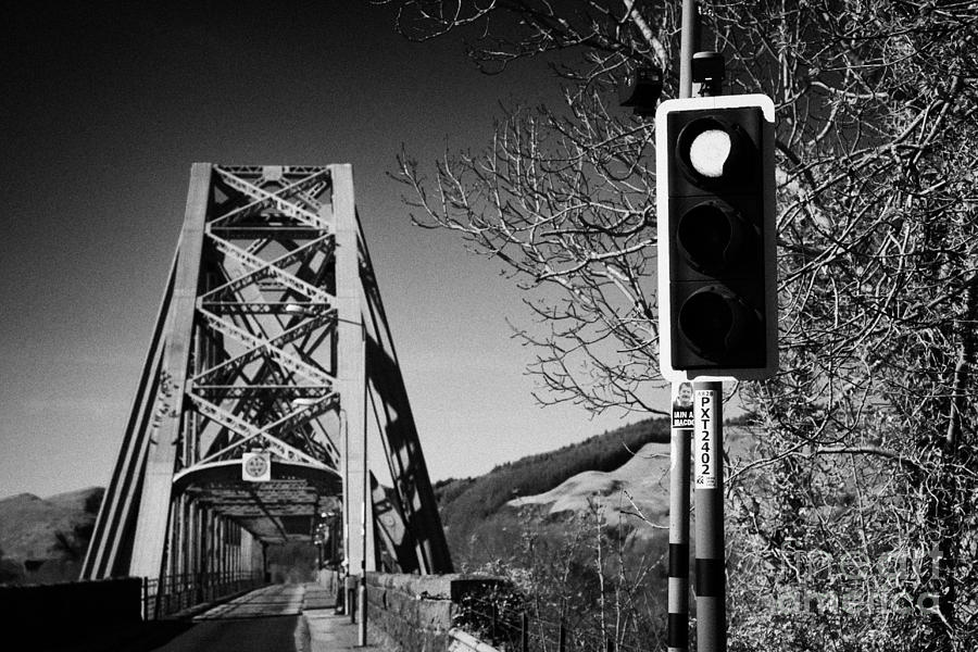 Coastal Photograph - Red Light Traffic Control At The Single Track Connel Bridge On The A828 Coastal Route Road Over Loch by Joe Fox