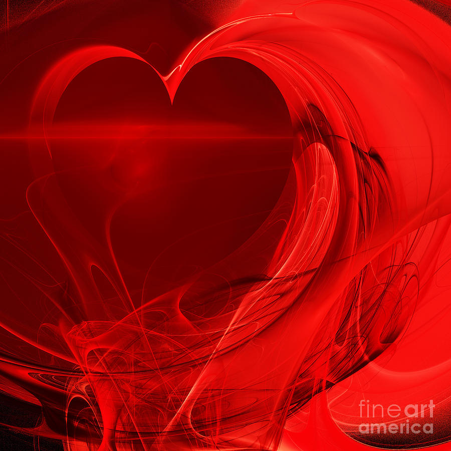 Fractal Photograph - Red Love . Square . A120423.279 by Wingsdomain Art and Photography
