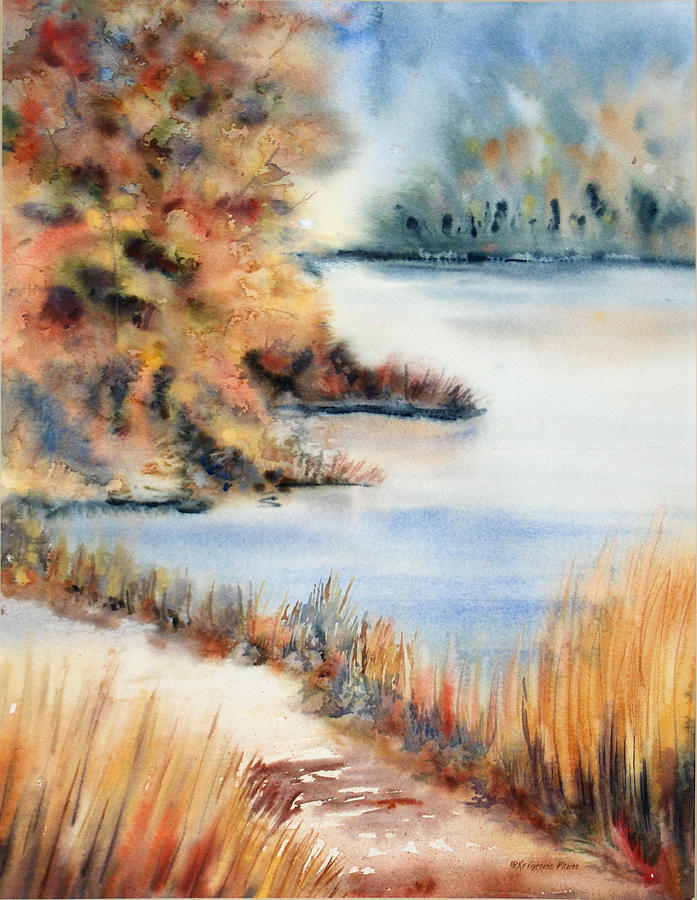 Landscape Painting - Red Maple Lake by Kristine Plum