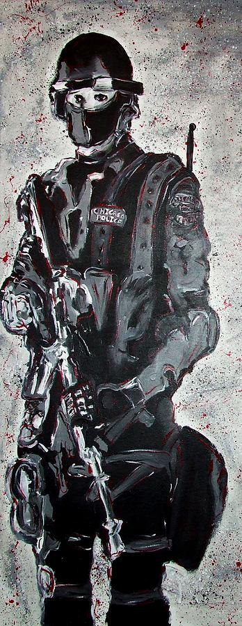 Red Painting - Red Marble Full Length Figure Portrait Of Swat Team Leader Alpha Chicago Police Full Uniform War Gun by M Zimmerman MendyZ