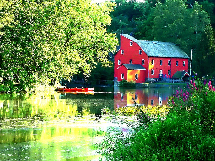 Agriculture Photograph - Red Mill On The Lake by Artistic Photos