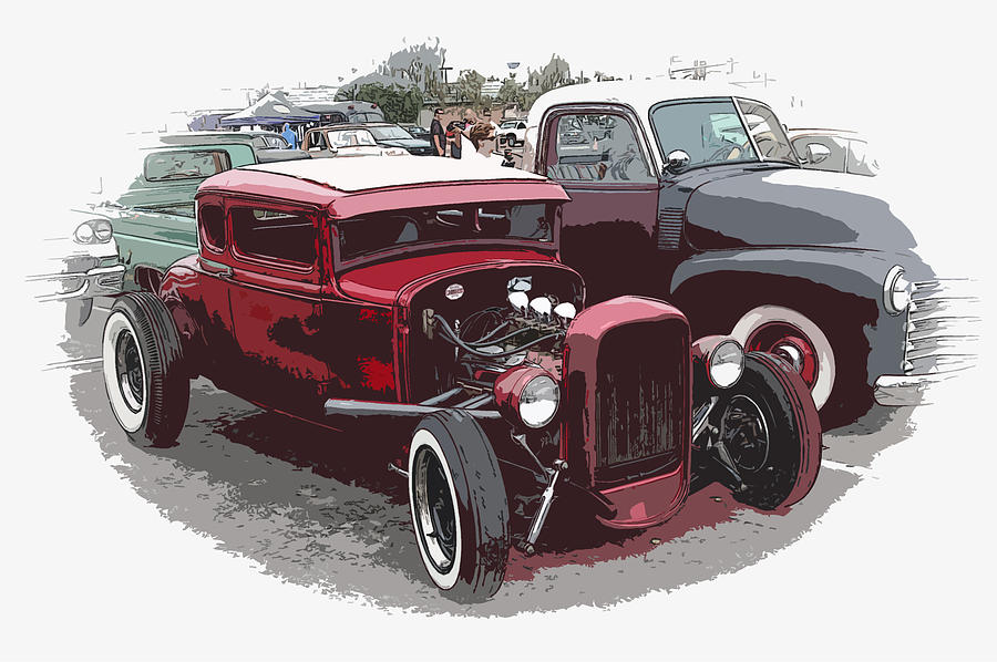 Model A Photograph - Red Model A Coupe by Steve McKinzie