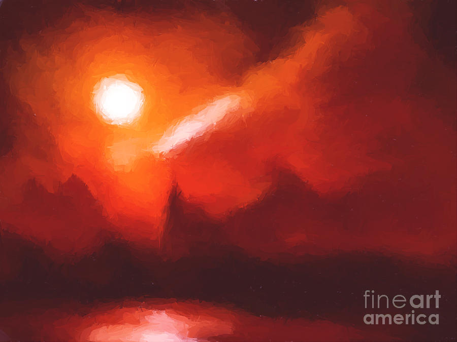 Mountains Painting - Red Mountains by Pixel Chimp