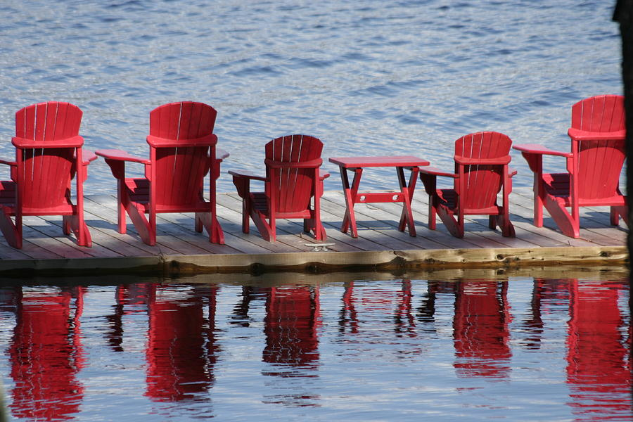 Muskoka Photograph - Red Muskoka Chairs by Carolyn Reinhart