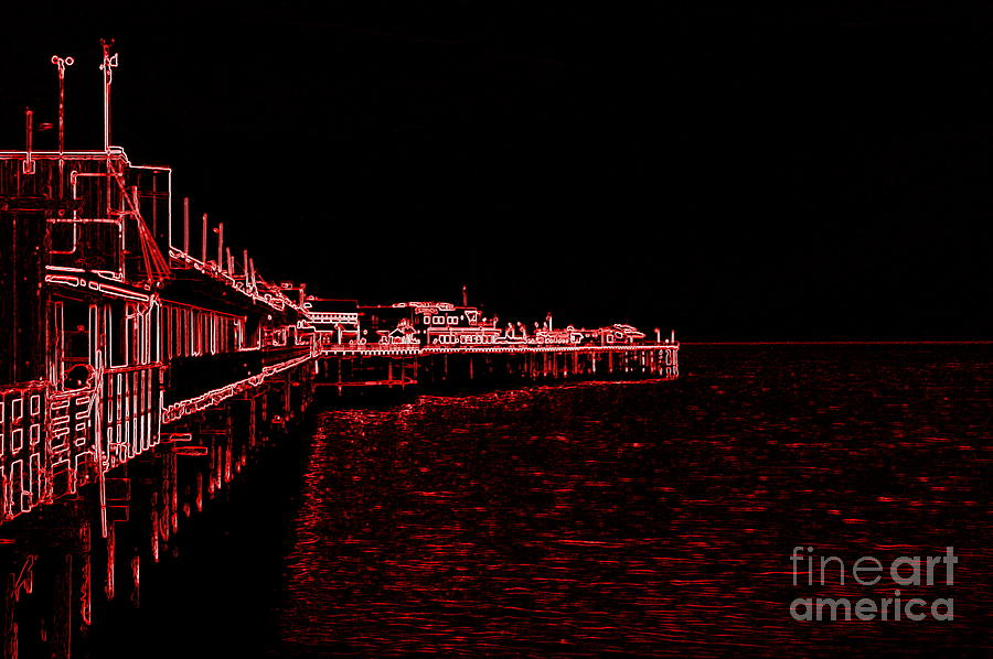 Red Photograph - Red Neon Wharf by Garnett  Jaeger