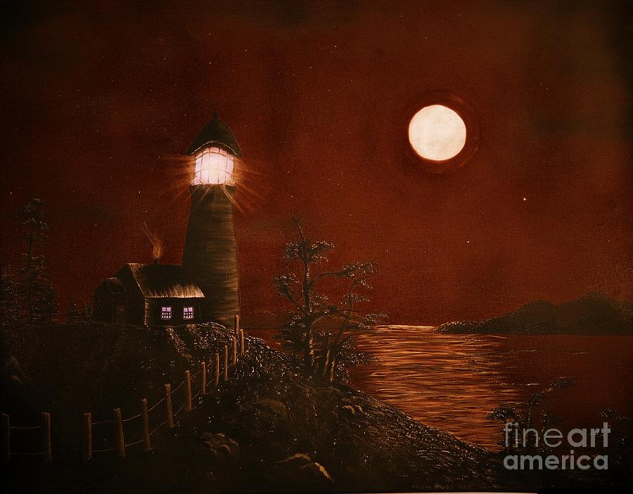 Red Night Painting - Red Night by Barbara Griffin