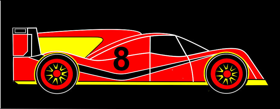 Racing Car Digital Art - Red Number 8 Racing Car Virtual Car by Asbjorn Lonvig