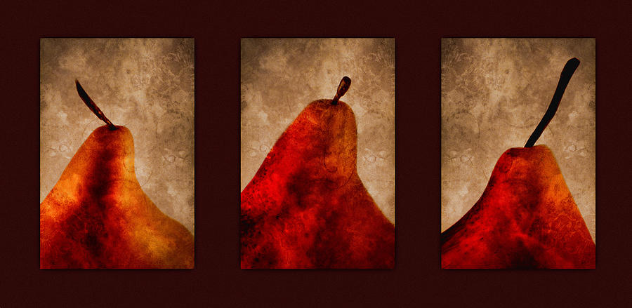 Pear Photograph - Red Pear Triptych by Carol Leigh