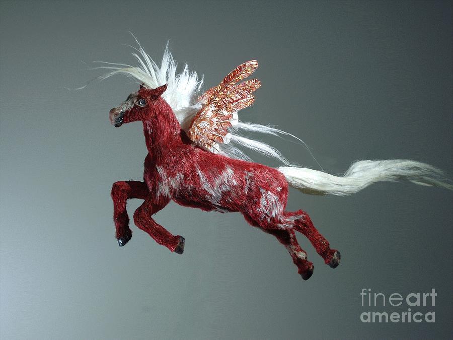 Horse Sculpture - Red Pegasus by Kathy Holman