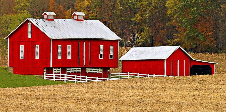 Barn Photograph - Red Pennsylvania Dutch Barn and White Fence by Brian Mollenkopf