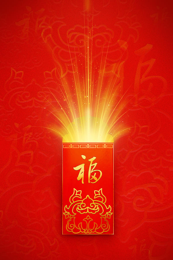 Vertical Digital Art - Red Pocket For Chinese New Year by BJI/Blue Jean Images