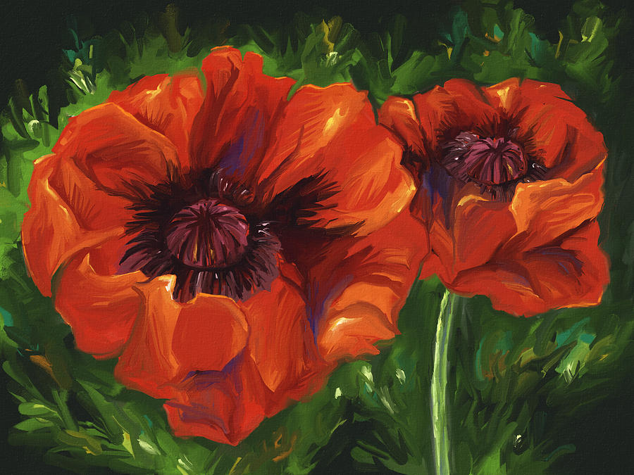 Digital Digital Art - Red Poppies by Aaron Rutten