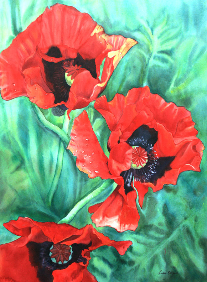Red Painting - Red Poppies by Leslie Redhead