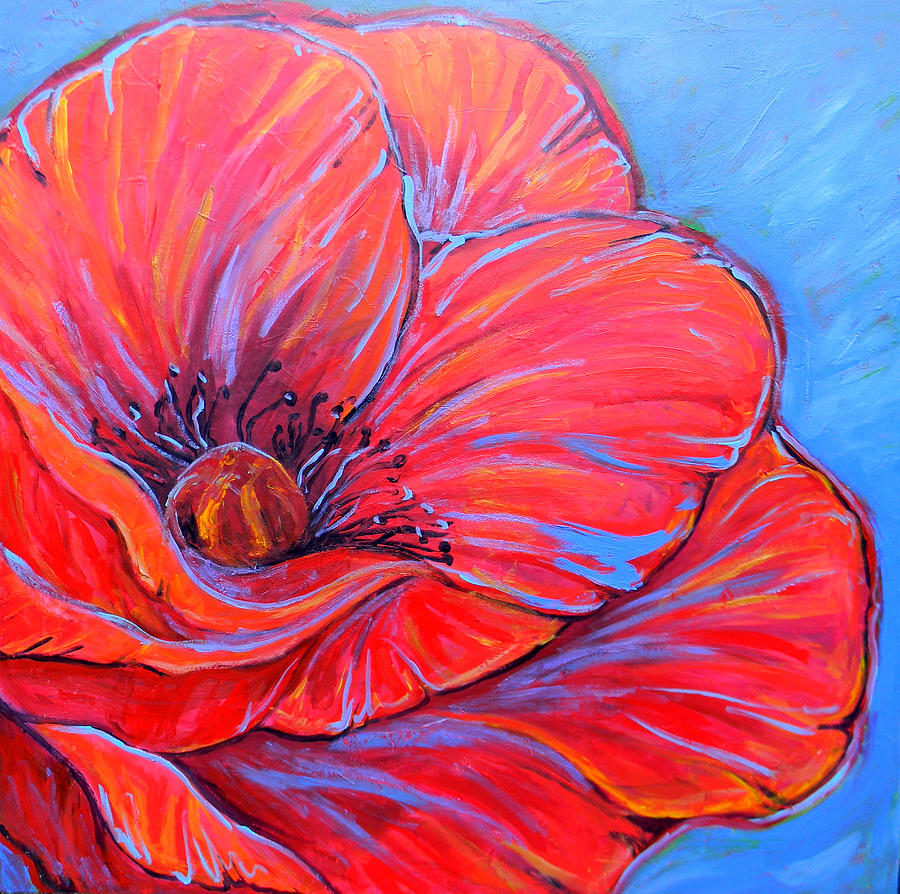 Red Painting - Red Poppy by Jenn Cunningham