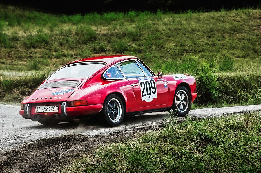 Car Photograph - Red Porsche Running Away by Alain De Maximy