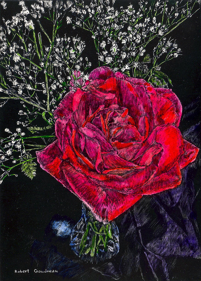 Roses Painting - Red Rose by Robert Goudreau