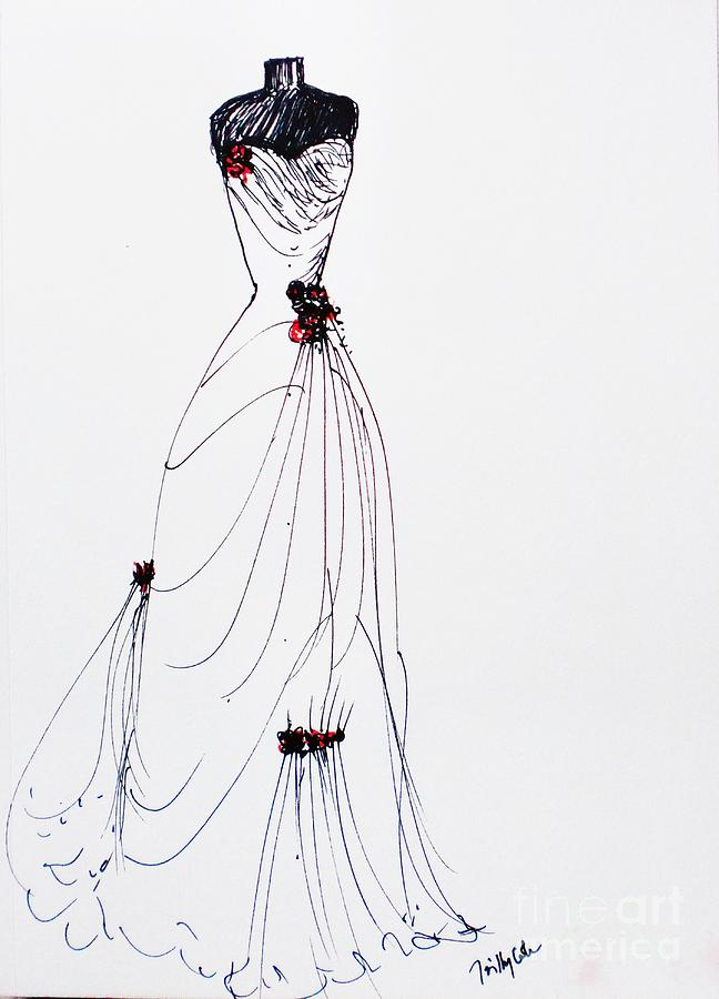 Wedding Dress Painting - Red Rose by Trilby Cole