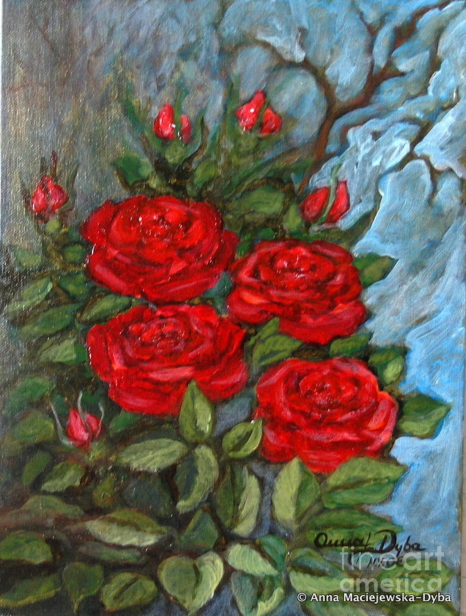 Red Roses Painting - Red Roses In Old Garden by Anna Folkartanna Maciejewska-Dyba