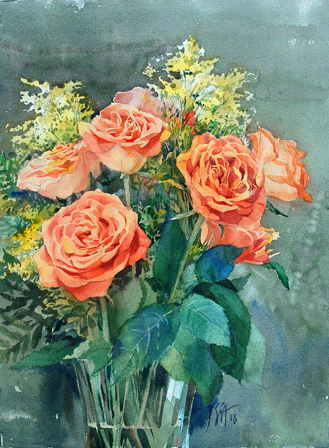 Orange Painting - Red Roses by Peter Sit