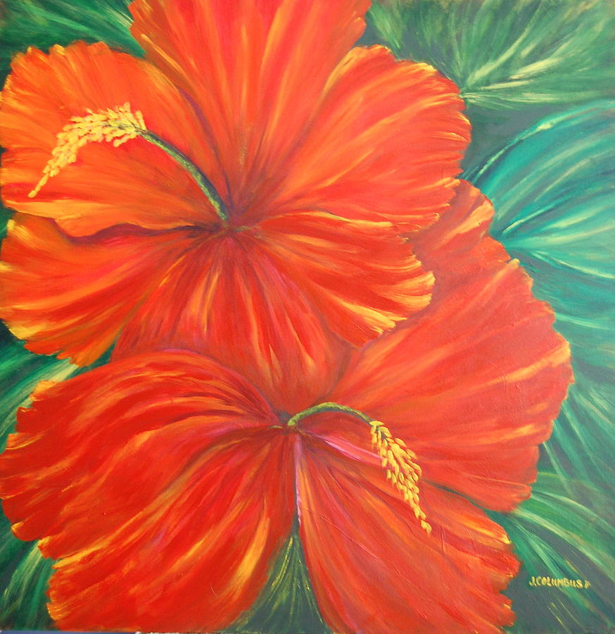 Hibiscus Painting - Red Rubys by Janna Columbus