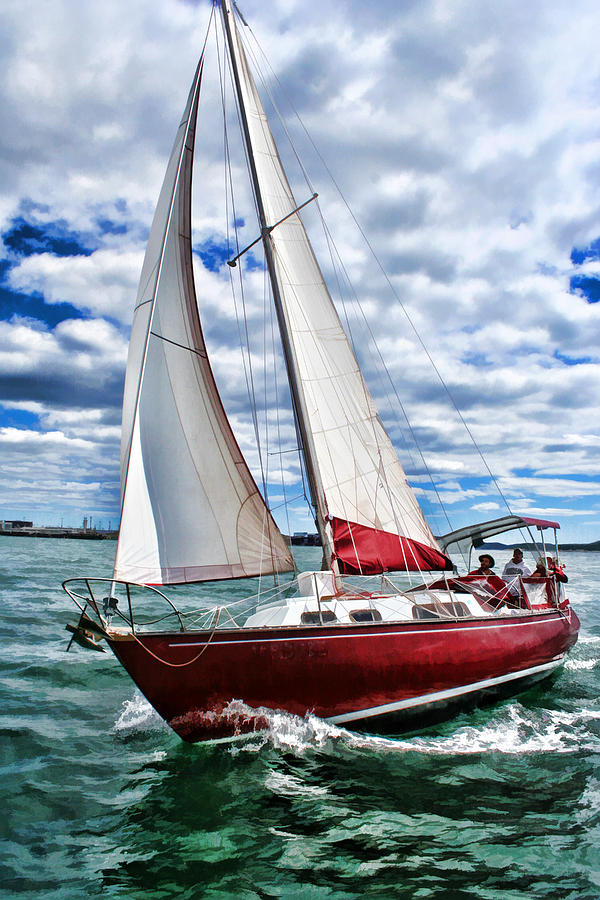 Red Sailboat Green Sea Blue Sky Painting by Elaine Plesser