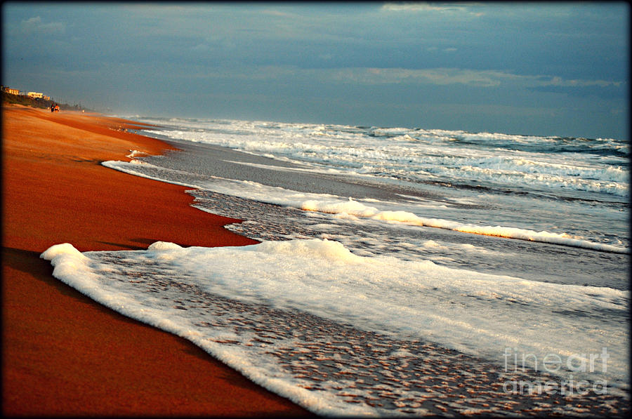 Beach Photograph - Red Sand White Surf by Laura Ogrodnik