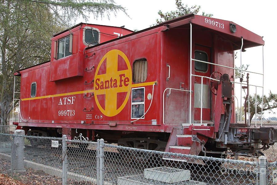 Transportation Photograph - Red Sante Fe Caboose Train . 7d10325 by Wingsdomain Art and Photography