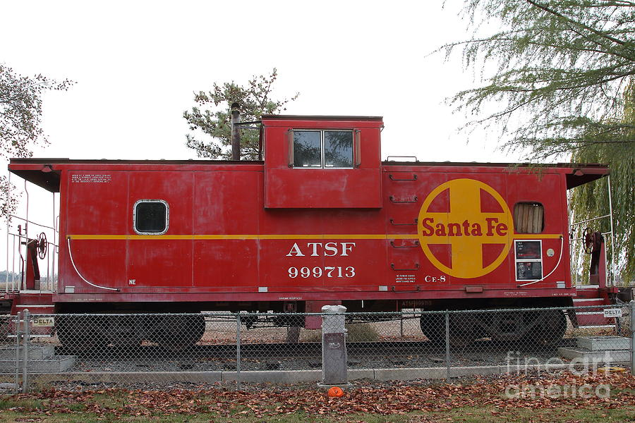 Transportation Photograph - Red Sante Fe Caboose Train . 7d10328 by Wingsdomain Art and Photography