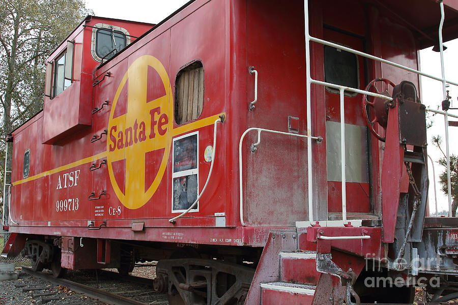 Transportation Photograph - Red Sante Fe Caboose Train . 7d10334 by Wingsdomain Art and Photography