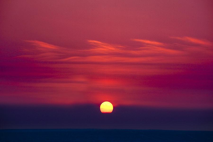 Red Sky And Sunset Photograph