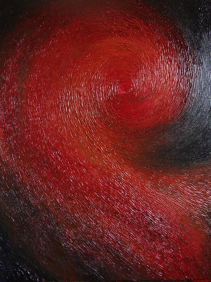 Abstract Painting - Red Spiral by Cahl Schroedl