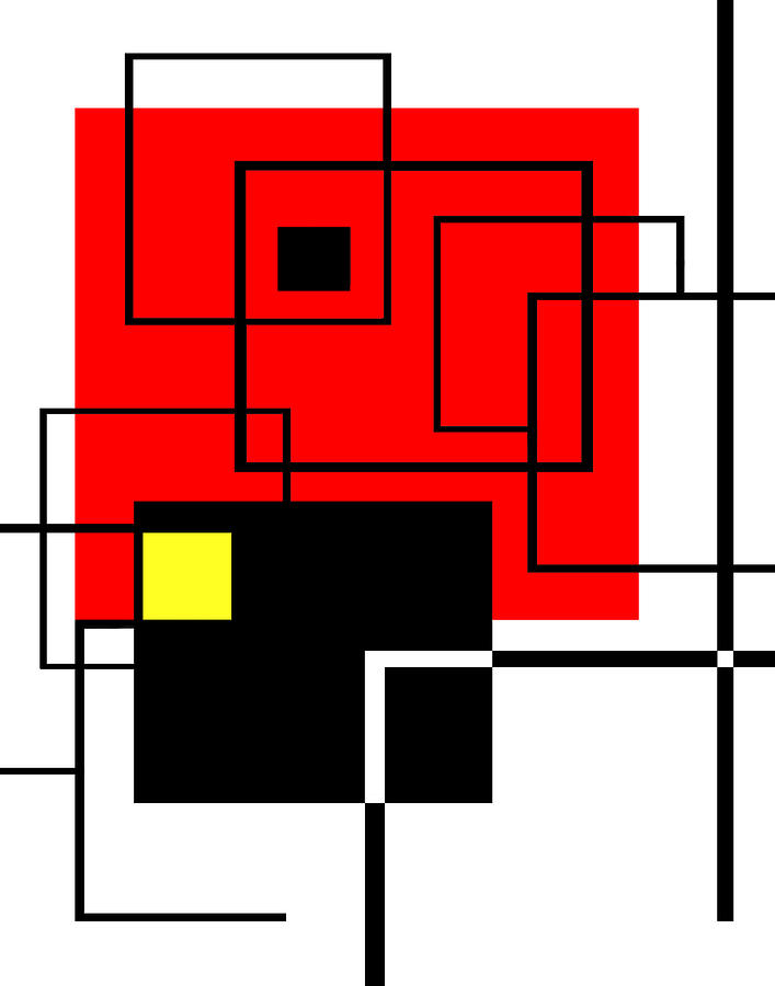 Mondrian Digital Art - Red Square A La Mondrian by Ginny Schmidt