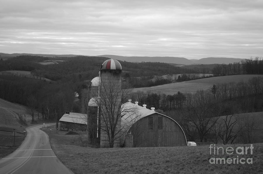 Red Barn Photograph - Red Striped Silo by Randy Edwards