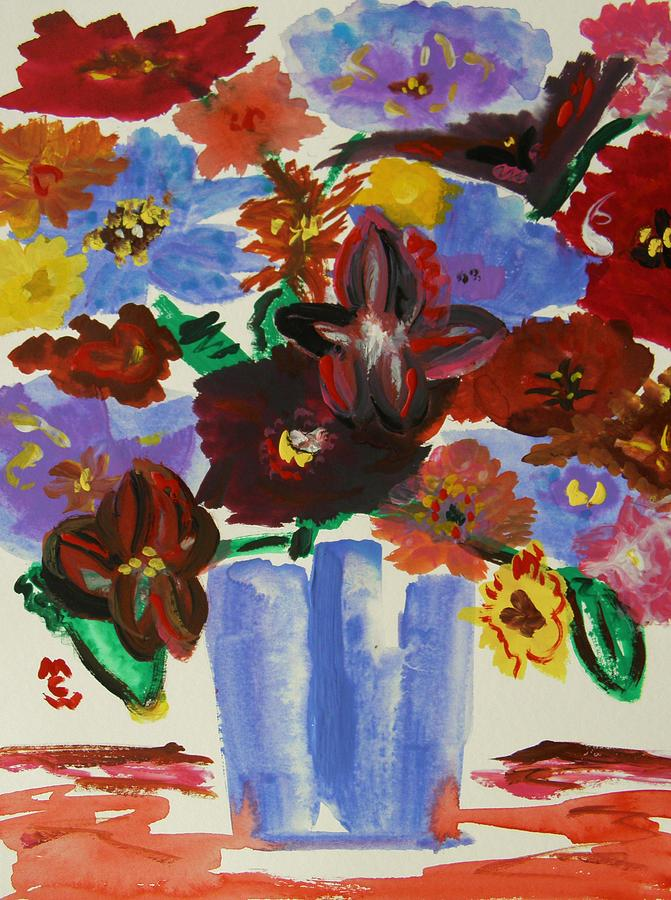 Flowers Painting - Red Table- Lavender Vase by Mary Carol Williams