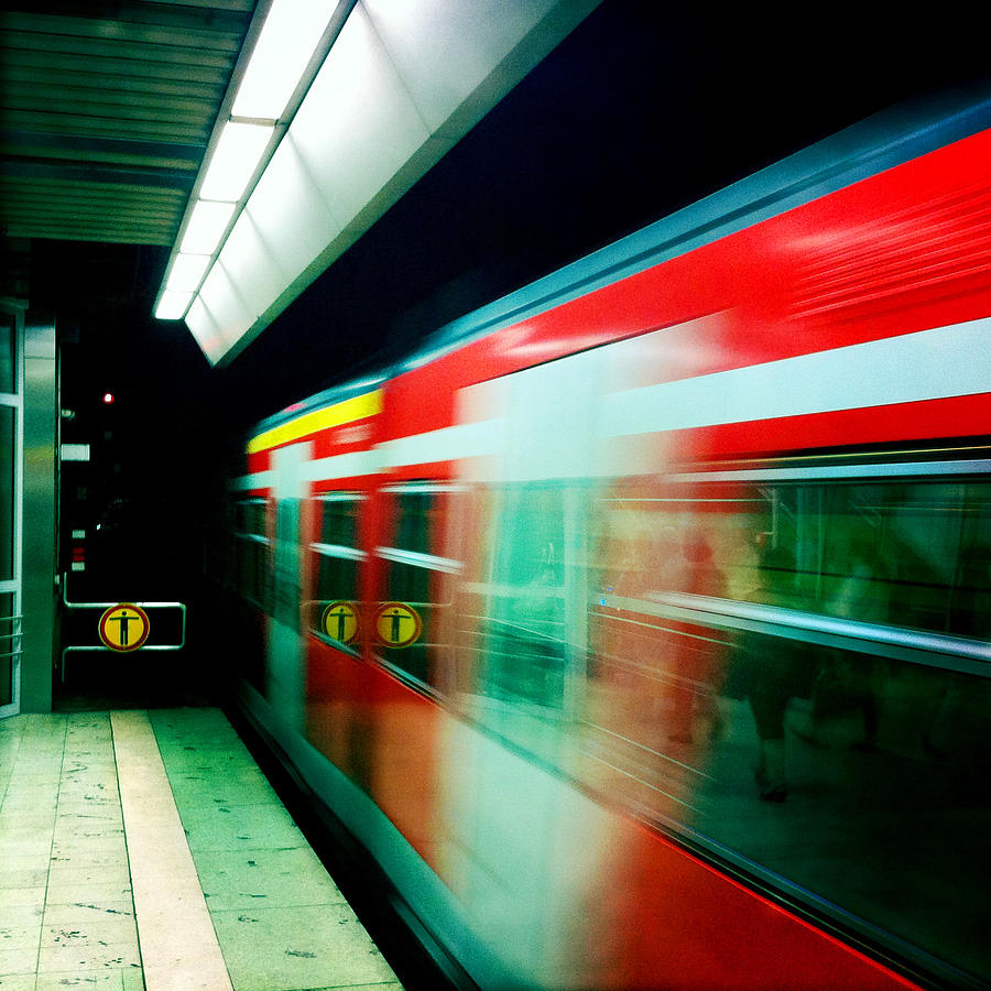 Train Photograph - Red train blurred by Matthias Hauser