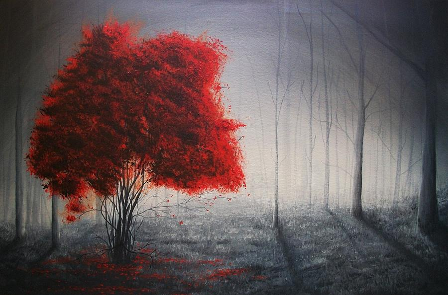 Red Tree Painting By Derek Clark