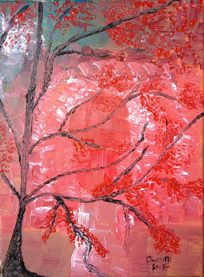 Trees Mixed Media - Red Tree by Pretchill Smith