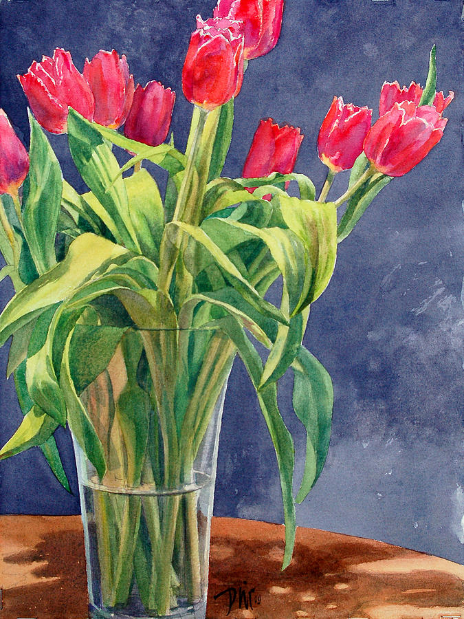 Peter Sit Watercolor Painting - Red Tulips by Peter Sit