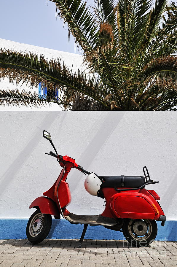 Simplicity Photograph - Red Vespa By Wall by Sami Sarkis