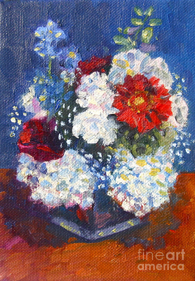Red White And Blue Flowers Painting by Jane Simonson