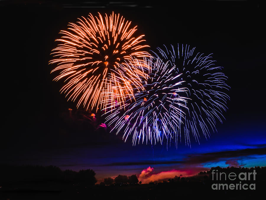 Fireworks Photograph - Red White And Blue by Robert Bales