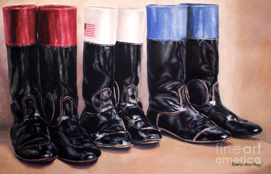 Jockey Boots Painting - Red White And Blue by Thomas Allen Pauly