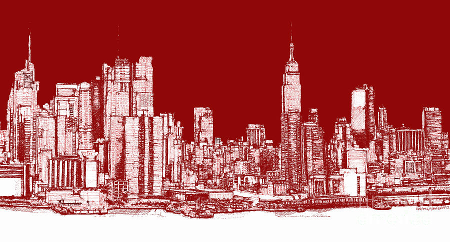 Red Drawing - Red White Nyc Skyline by Adendorff Design